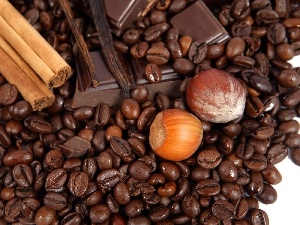 cuts, nuts, grains, chocolate, coffee