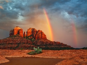 Desert, Great Rainbows, Mountains