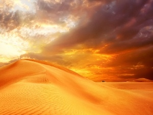Desert, Sand, Great Sunsets, clouds