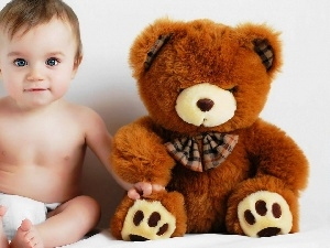 diaper, teddy bear, Kid