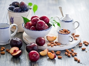 almonds, dishes, plums