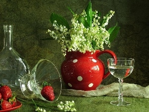 dishes, glass, jug, strawberries, lilies