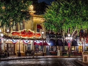 Disneyland, Street, Houses, California, illuminated