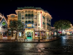USA, Disneyland, Street, Town, California, Night, buildings