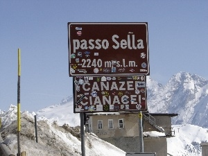 Dolomites, passo sella, Mountains, snow