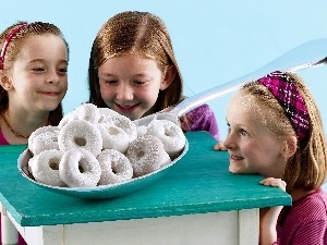 Donuts, White, Three, girls