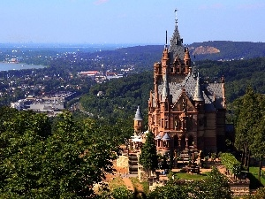 Drachenburg, town, Beauty, panorama