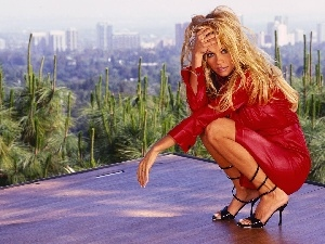 Black, dress, Pamela Anderson, sandals, red hot