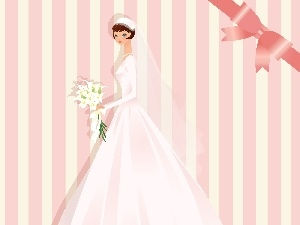 Dress, White, lady, bouquet, young