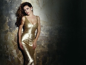 dress, Golden automobile, lovely, Kelly Brook