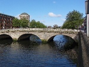 Dublin, house, bridge, Ireland, River