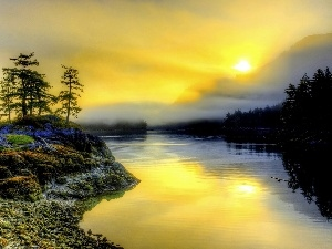 east, woods, Fog, River, sun, Mountains