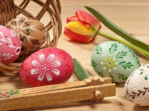 Easter, tulip, basket, composition, eggs