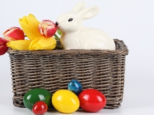 easter, basket, Tulips, porcelain, eggs, rabbit