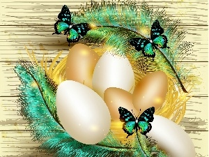 Easter, feather, eggs, graphics, butterflies