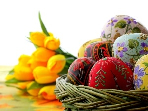 easter, eggs, Tulips, basket