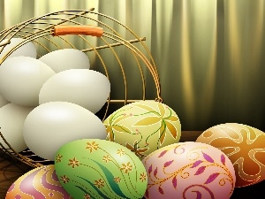eggs, color, basket, eggs