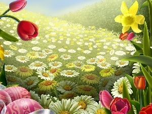 eggs, Flowers, paint, color, easter, Spring