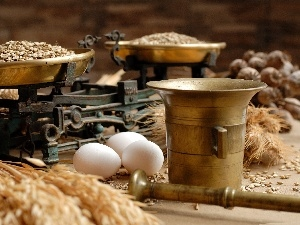 eggs, weight, cereals, mortar, seed