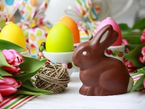 eggs, candles, easter, Tulips, Wild Rabbit