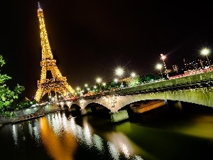 Eiffla, tower, Paris, night