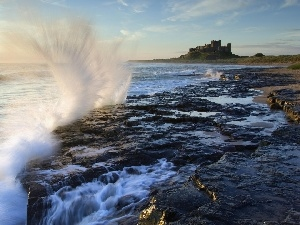 England, sea, Castle, Bamburgh