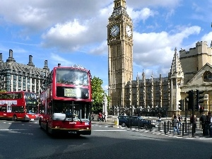 England, London, Street, Buses