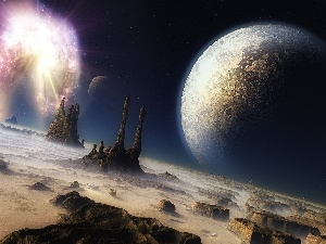 explosion, cosmic, rocks, Planets