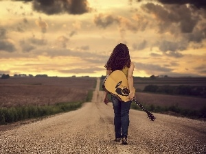 field, Way, girl, clouds, Guitar