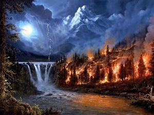 fire, Storm, Night, Mountains, waterfall
