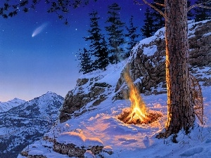 fire, viewes, snow, rocks, winter, trees