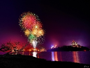 River, fireworks, New Year