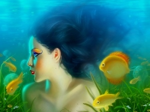 fishes, water, mermaid, make-up