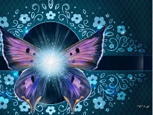 graphics, flash, sun, Flowers, luminosity, butterfly, ligh