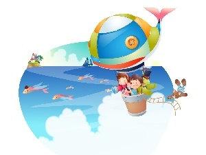 Balloon, flight, Kids