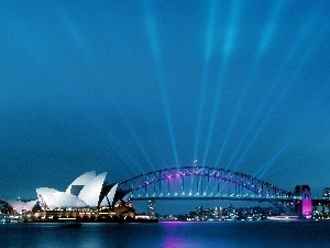Floodlit, Sydney, Opera, bridge, ##