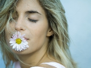 lips, Flower, girl