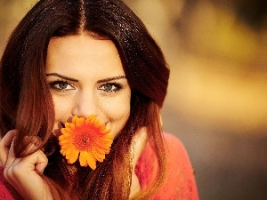 Flower, make-up, smiling, brunette