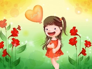 Baloon, Flowers, girl