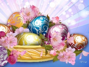 Flowers, eggs, Easter, basket, color
