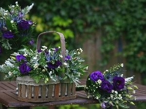 flowers, violet, Baskets, Bouquets