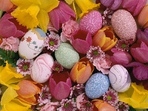 Flowers, eggs, decoration, Easter
