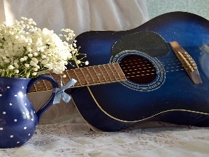 Flowers, White, Guitar, jug