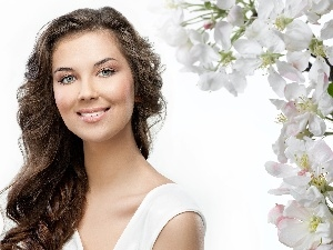Flowers, White, Women, make-up