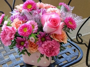 pink, flowers, bouquet