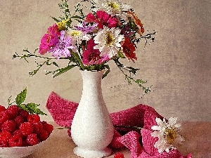 flowers, bouquet, White, raspberries, pottery