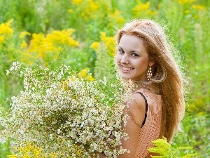 Flowers, Meadow, smiling, Blonde
