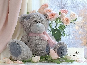 Flowers, Chocolates, Plush, teddy bear