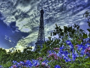 Flowers, clouds, tower, Eiffla