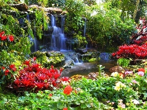 Flowers, waterfall